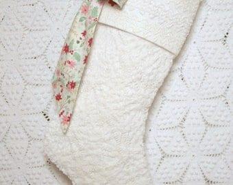 Winter White Chenille Stocking | Cream Christmas Stocking | Cottage Stocking | Chenille Stocking