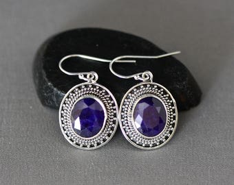 Sapphire Earrings - Sapphire and Silver - Bali Silver Earrings - September Birthstone - Blue Gemstones - Blue and Gold - Jewelry Gift