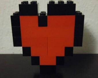 8-bit LEGO Heart Brooch/Pin (Small)