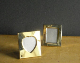 Brass Frame Duo - Small Vintage Brass Rectangle and Heart Frames - Set of Two 2 Frames