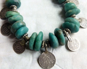 Antique Moroccan amazonite and antique Moroccan silver coin dangles necklace, Berber necklace