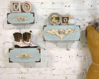 Painted Cottage Chic Shabby Farmhouse Shelves / Cubbies