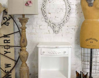 Painted Cottage Chic Shabby Romantic French Night Table NT897