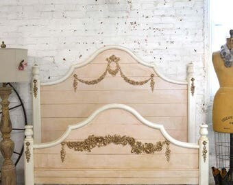 Painted Cottage Chic Shabby Romantic French One of a Kind Bed BD769