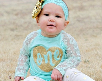 Sizes 12M - 6 Gold or silver polka dot leggings and light turquoise lace/knit raglan shirt-you customize word on shirt