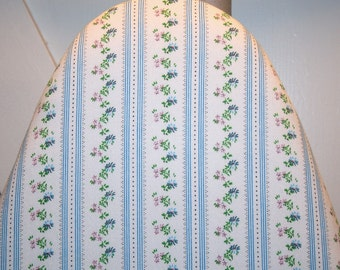 Vintage Pillow Ticking Ironing Board Cover — Dainty Blue Flowers — Wonderful Gift for a Sewist or Vintage Lover — Fits 18-Inch Wide Boards