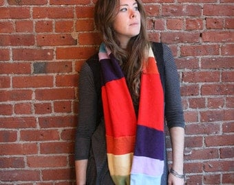 100 percent cashmere infinity scarf- scoodie- extra wide thick warm circle scarf- rainbow- eco friendly unisex- sweater scarf- repurposed