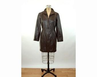 Leather coat jacket dark brown zip front minimalist Size 10 Medium Margaret Godfrey