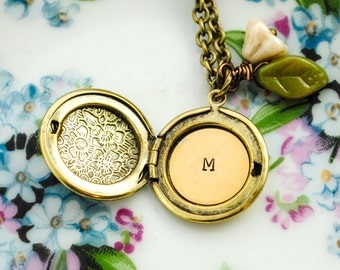 Custom Initial Locket  - Monogrammed, Personalized Locket - Antique Brass