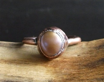Pearl Ring Birthstone Ring Gemstone Ring Size 7.5 Cocktail Ring Lilac Violet Peach For Her Artisan Handmade