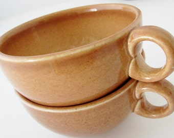 IROQUOIS APRICOT CASUAL Russel Wright Pair Flat Cups Coffee or Tea