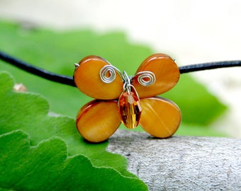 Aloha Amber Swarovski Crystal & Mother of Pearl Butterfly Necklace