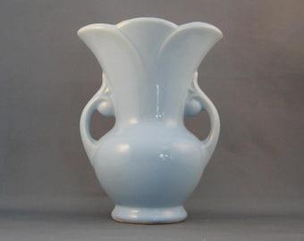 Vintage Two Handle Floral Blue Vase