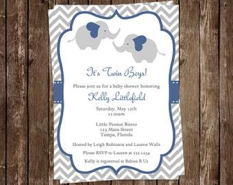 Twins Baby Shower Invitations, Elephants, Boys, Chevron Stripes, Blue, Navy, Gray, 10 Printed Invites, Free Shipping, CHETWNY