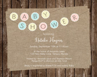 Baby Shower, Invitations, Burlap, Bunting, Pastel, Yellow, Blue, Pink, Rustic, Country, Chic, Shabby, 10 Printed Invites, FREE Shipping