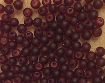 50 x 4mm deep red frosted glass round beads