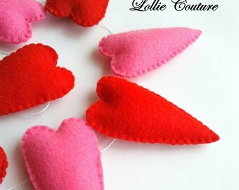Heart Garland, felt ornaments, Red hearts, Pink hearts, Nursery decor, Valentine Garland
