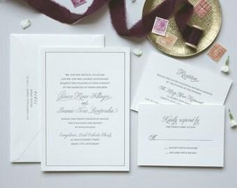 Letterpress Wedding Invitation - Savannah Design - Foil Stamping- Calligraphy,Traditional, Elegant, Simple, Classic, Script, Border