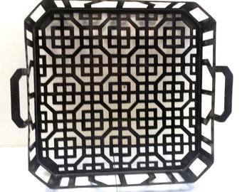 Mid Century Large Black Enamel Oriental Hollywood Regency Metal Tray