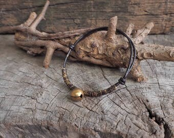 Brass Bell, Oxidized Tube Brass Beads Adjustable Leather Bracelet