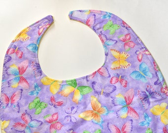 Adult Bibs For Women Special Needs Bibs For Disabled, Adult Feeding Bibs For Handicap, Purple Butterfly, Adult Christmas Gift