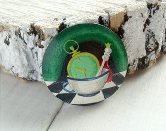 Alice in Wonderland, wooden brooch, hand-painted, clock, cup, insane tea party, gift for her, one-of-a-kind