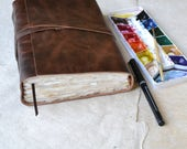 Rustic Leather Journal with Watercolor Paper