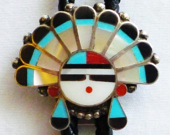 Zuni Sterling Silver Turquoise Multi-Stone Inlay Sunface Bolo Tie