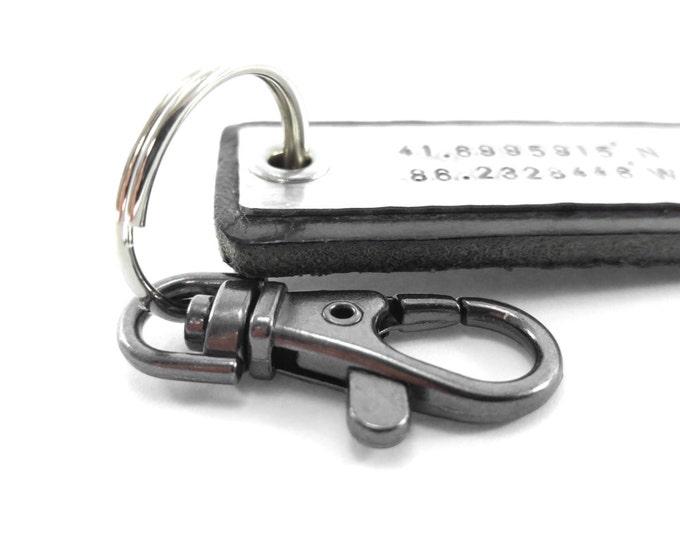 Boyfriend Gift Men's Leather Keychain Personalized GPS Coordinates Longitude Latitude Hipster Personalized Gift