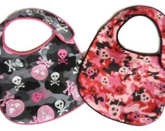 Baby Girl Glitter Skulls and Crossbones PInk and Grey Camo Baby Bibs - set of 2 bibs