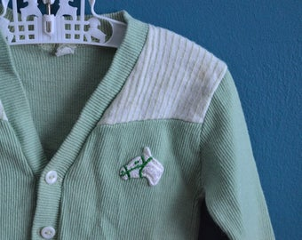 Vintage 1960s Mint Green Baby Cardigan with Horse Applique - Size 6-12 Months