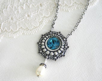 Teal necklace, Blue short necklace, Blue crystal pendant, Blue silver pendant, Silver pendant necklace, Teal jewelry