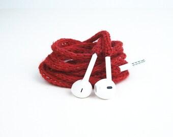 Tangle Free Knit Apple Earpods in Blood Red
