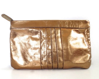 Vintage Metallic Anique Gold Leather Bill Dorf Clutch