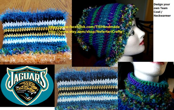 Convertable Cowl Hair cover Earwarmer Snood for Jacksonville Jaguars lovers / Versatile and Cusomized head peice
