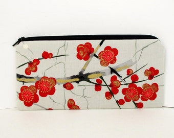 Pencil Pouch Zippered, Asian Cherry Blossoms, Gray Money Purse