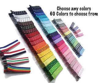 50 Stripes & Dots Lined 45mm Alligator Clips, No Slip Hair Clips, Partially Lined, Fully Lined, Single Prong, Double Prong, Ribbon Covered