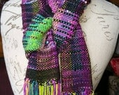 Black Opal Hand Dyed Spun Woven Art Yarn Scarf Extra Fringe Silk Cotton Merino In Stock and Made to Order Ozark Gems Saori Weaving Original