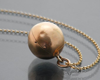 Antique Orb Locket | Victorian Gold Ball Locket | Rolled Gold Antique Photo Locket | Love Token | Wedding Locket - 24 Inch Chain Included