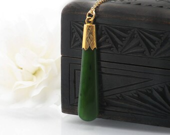 Antique Jade Pendant | Edwardian Watch Fob | 9ct Gold Capped Antique Watch Fob Pendant | Nephrite Jade Fob Chain Ornament - 24 Inch Chain