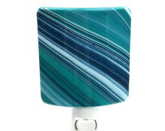 Night Light, Turquoise White & Navy Diagonal Stripes Art Glass