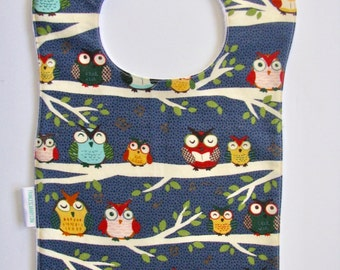 Bib, Large Bib, Owls in a Row, Toddler Bib, Baby Bib, Food Bib, Reversible Bib, Minky Bib, Oversized Bib, Ready to Ship, Baby Shower Gift