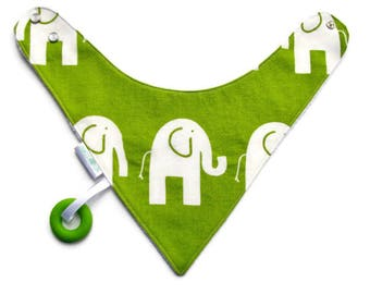 Baby Bandana Bib With Attached Food Safe Silicone Teether, Elephants on Green, Reversible  Minky Lined