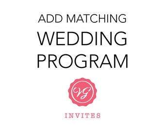 Add Matching Wedding Program