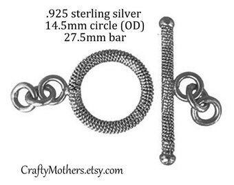 TAKE10 for 10% off! 1 SET Bali Sterling Silver Textured Toggle Clasp, 14.5mm ring with 27.5mm bar, artisan supplies, bracelet, necklace