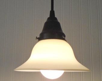 Vintage Milk Glass PENDANT Light - Ceiling Flush Mount Chandelier Farmhouse