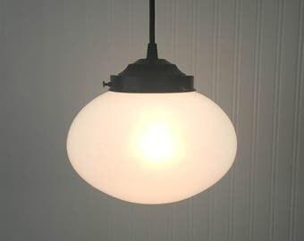 PENDANT Light of Vintage Milk Glass Globe - Farmhouse Chandelier Lighting Fixture Flush Mount Kitchen Island Lamp Rustic LampGoods