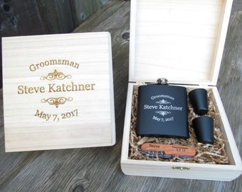 3 Custom Engraved Groomsmen Gift Sets, Personalized Groomsmen Gift Boxes, Custom Engraved Flask Sets, Wedding Party Gift Sets, ETY PRSE
