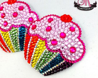 Rainbow Cupcake Rhinestone Nipple Pasties - SugarKitty Couture