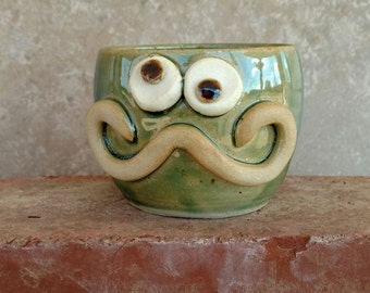 Reserved Mustache Shaving Mug. Dads Shaving Bowls. Funny Handlebar Mustaches for Him. Green Stoneware Pottery Mini Bowl.